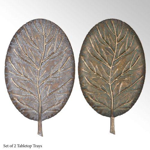 Elegant Leaf Decorative Trays Multi Metallic Set of Two