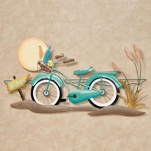 Beach Cruiser Bicycle Wall Art Turquoise