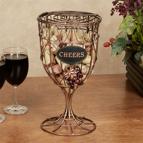 Cheers Goblet Cork Holder Aged Gold