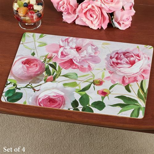 Pretty in Pink Floral Hardboard Placemats Set of Four