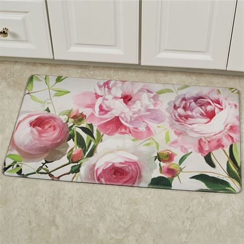 Pretty in Pink Floral Cushioned Mat 30 x 18
