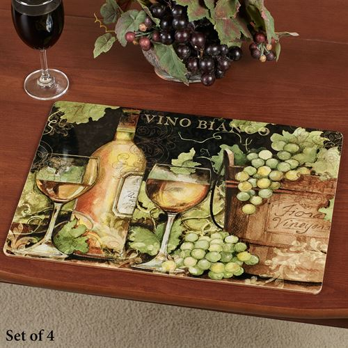 Bright Wine Hardboard Placemats Multi Cool Set of Four
