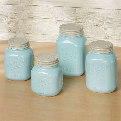 Vintage Farmhouse Kitchen Canisters Pastel Blue Set Of Four