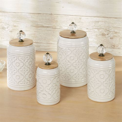 Bria Kitchen Canisters Ivory Set of Four
