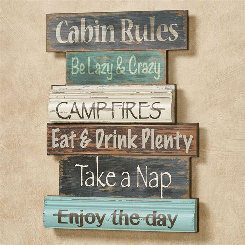 Cabin Rules Wall Plaque Sign Multi Cool