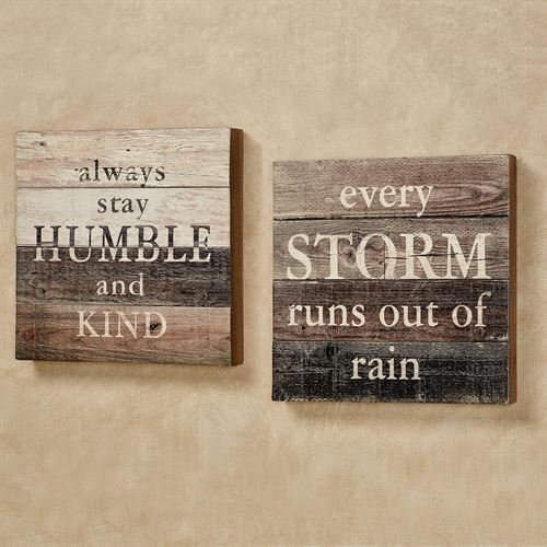 Humble and Storm Box Wall Plaque Signs Multi Earth Set of Two