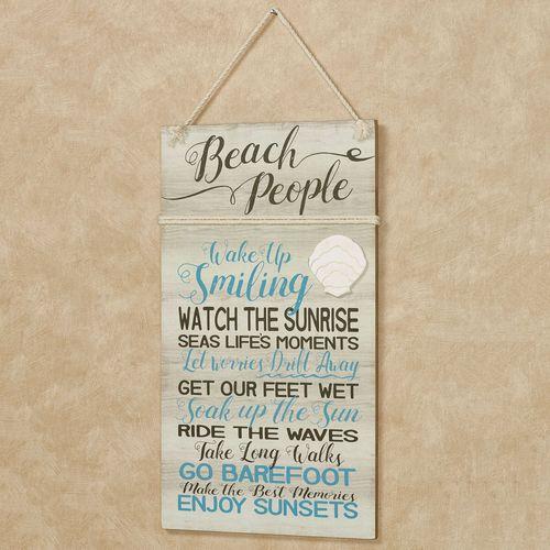 Beach People Coastal Wall Plaque Sign Multi Cool