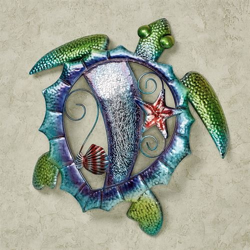 Mosaic Sea Turtle Metal Wall Art