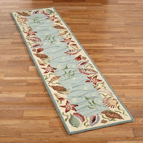 Ocean Surprise Coastal Seashell Rug Runner