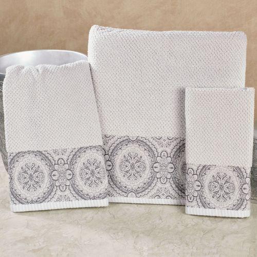Colette Bath Towel Set Silver Bath Hand Fingertip
