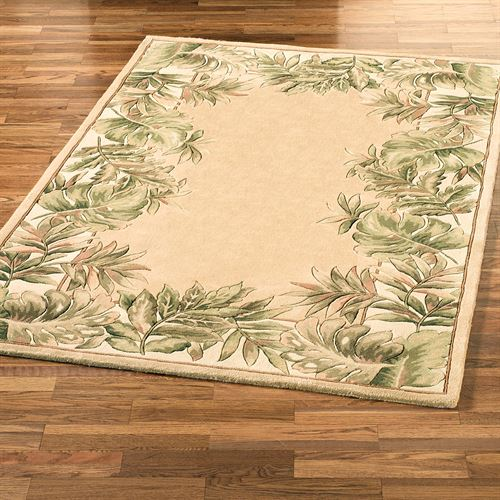 Tropical Leaves Border Rug Beige