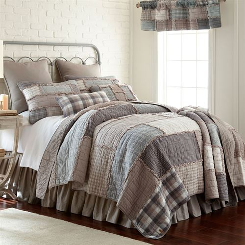 Smoky Cobblestone Patchwork Quilt Dark Gray