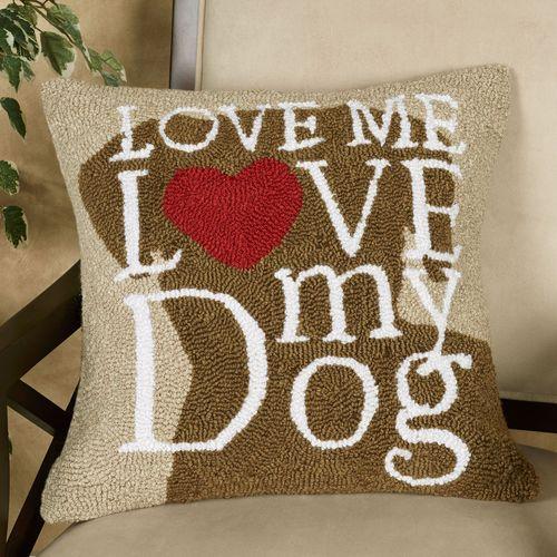 Dog Love Decorative Pillow Brown 18 Square