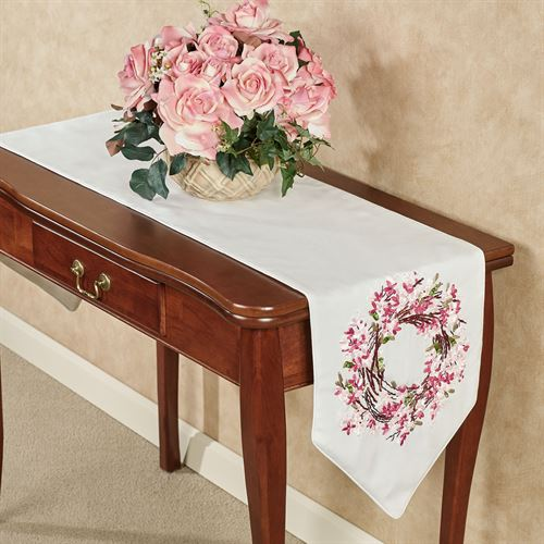Blossom Wreath Floral Table Runner Pink 13 x 72