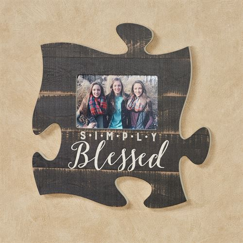 Simply Blessed Photo Frame Puzzle Piece Wall Art