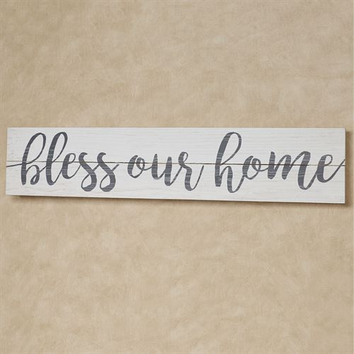 Bless Our Home Wall Plaque Sign Weathered White