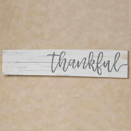 Thankful Wall Plaque Sign Weathered White