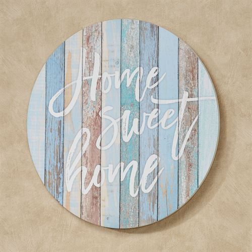 Coastal Home Sweet Home Round Wall Plaque Multi Cool
