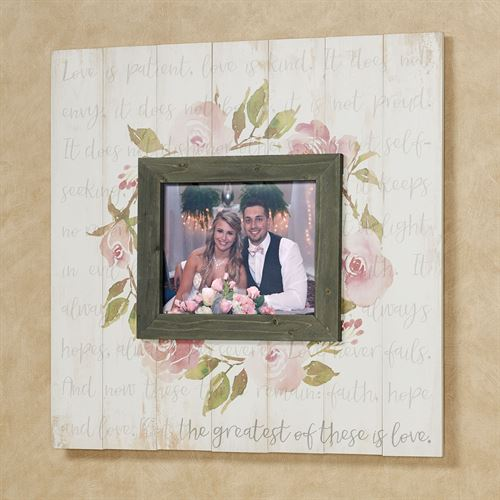 Greatest of These Photo Frame Wall Plaque Weathered Ivory
