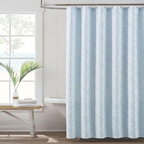 Sanibel Isle Pastel Blue Coastal Shower Curtain