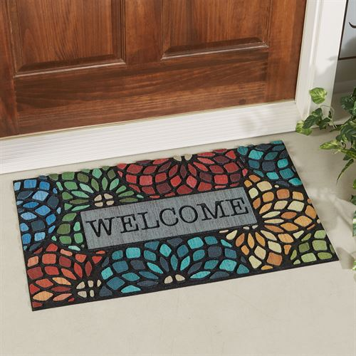 Stained Glass Florets Welcome Doormat Multi Bright 30 x 18