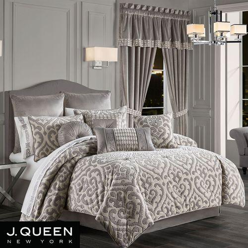 Belvedere Silver Damask Comforter, J Queen New York Bedding Kingsgate
