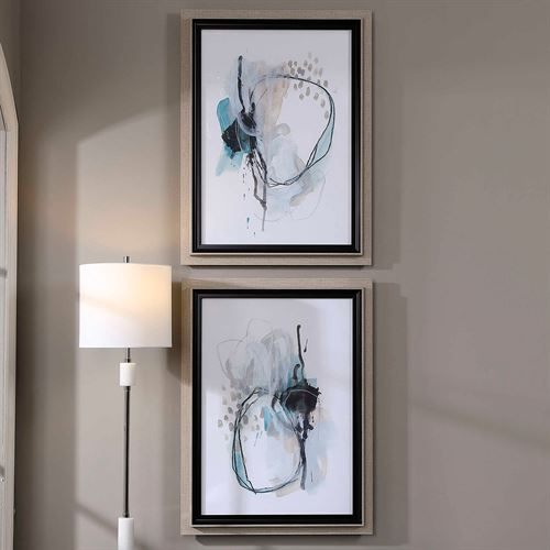 Force Reaction Framed Print Wall Art Gray Set of Two