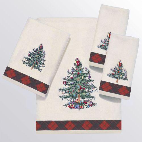 Spode Christmas Tartan Plaid Bath Towel Set Ivory Bath Hand Two Fingertip