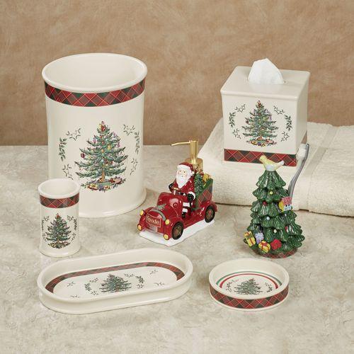 Spode Christmas Tartan Plaid Lotion Soap Dispenser Red
