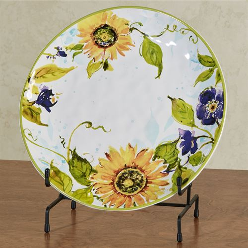 Sun Garden Sunflower Round Serving Platter Multi Earth