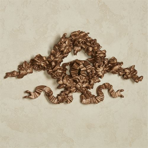 Floral Wreath Wall Topper Aged Gold