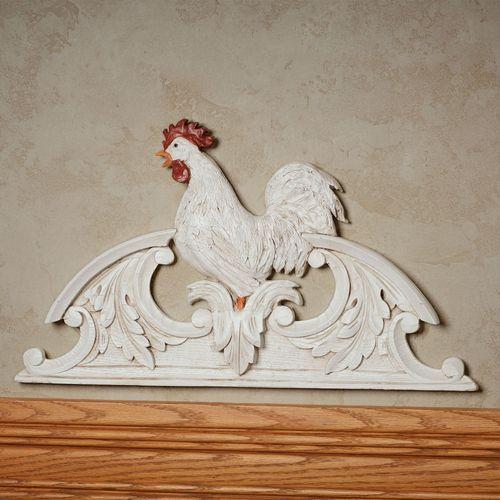 Le Chanticleer Rooster Door Topper Antique White