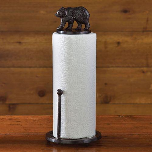 Bear Paper Towel Holder Rustic Brown