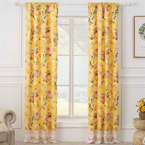 Finley Curtain Pair Yellow 84 x 84