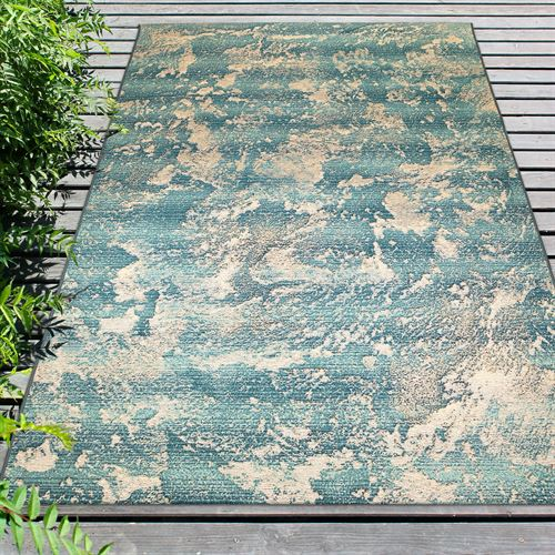 Stormy Sea Rectangle Rug Teal