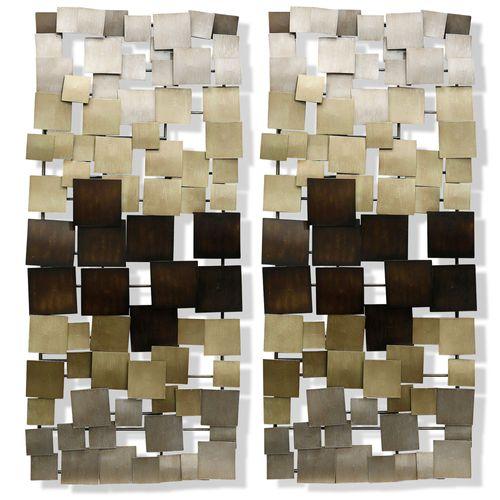 Clare Wall Art Panel Pair Multi Metallic