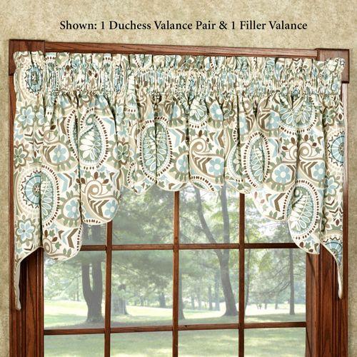 Paisley Prism Duchess Valance Pair Latte 100 x 30