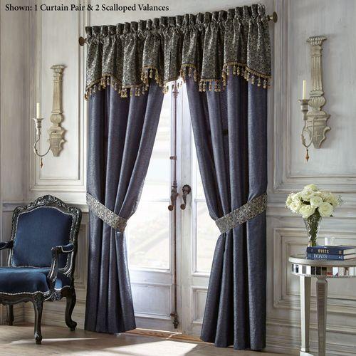 Vaughn Wide Tailored Curtain Pair Navy 100 x 84