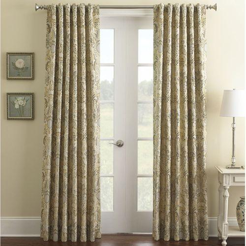 Fairfield Scroll Wide Curtain Pair Platinum 100 x 84