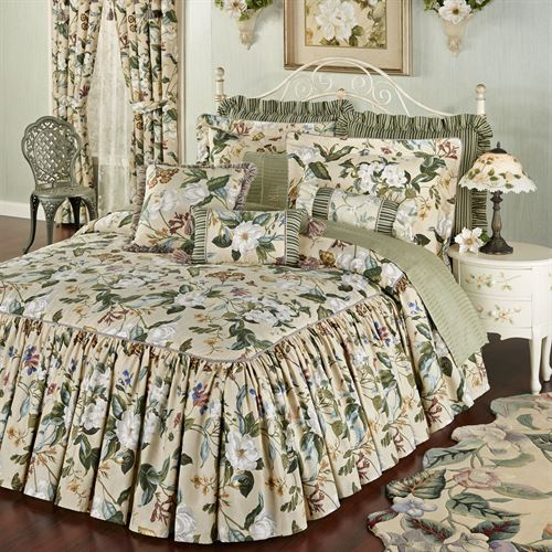 Garden images iii magnolia floral ruffled flounce bedspread for Frilly bedspreads