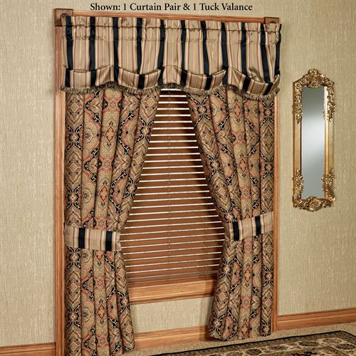 Ravel Wide Tailored Curtain Pair Multi Warm 112 x 84