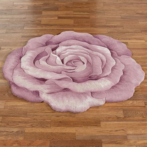 Claire Bloom Rose Flower Shaped Rug Lavender