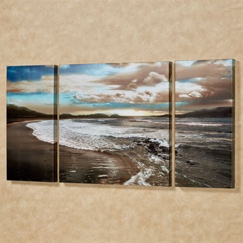 Coastal Serenity Triptych Canvas Wall Art Multi Cool Set of Three