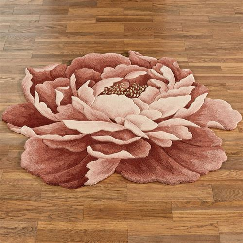 Nancy Bloom Peony Flower Shaped Rug Cinnabar