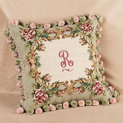 Monogrammed Rose Pillow  12 Square