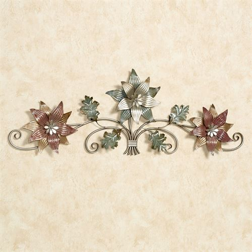 Glam Blossom Trio Wall Topper Silver with Gold