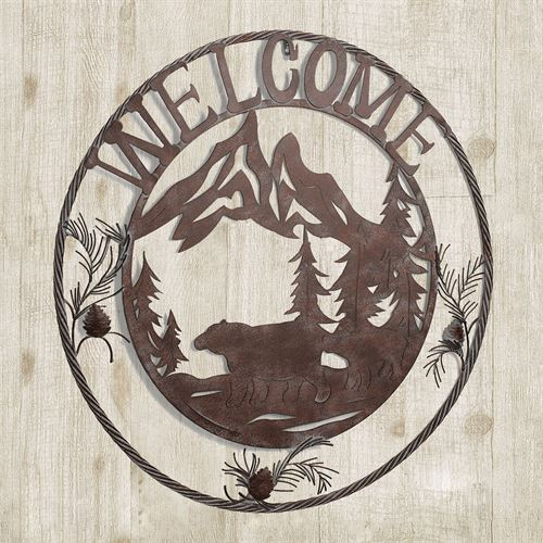Natures Wonder Round Welcome Sign Brown