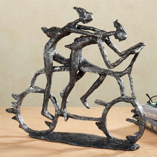 Into the Wind Table Sculpture Antique Pewter