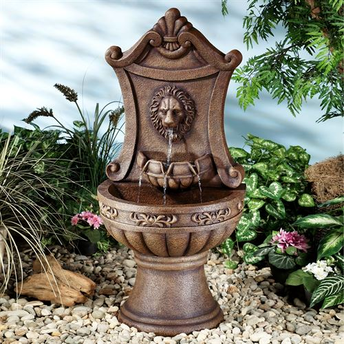 Classic Lion Water Fountain Sienna Brown