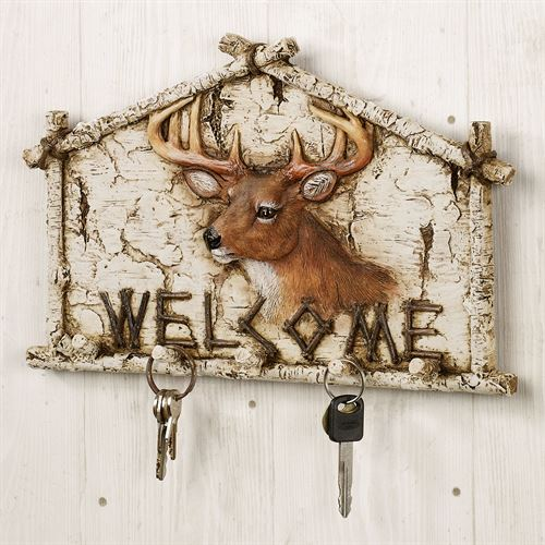 Deer Wall Hook Welcome Plaque Off White